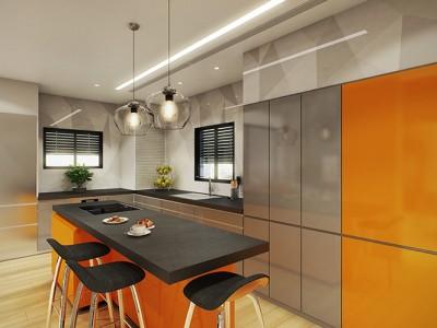 מטבח מודרני בצבעי כתום ואפור