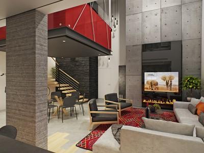 סטודיו תלוי מהתקרה במרכזה של דירה דופלקס עם פינת המתנה